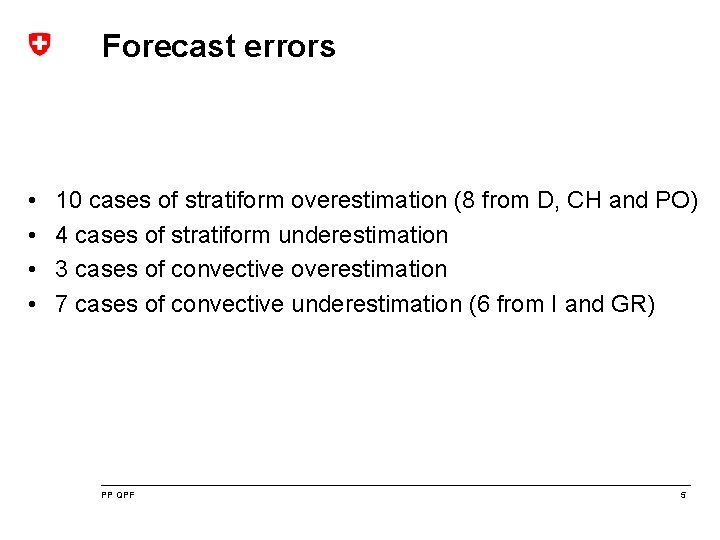 Forecast errors • • 10 cases of stratiform overestimation (8 from D, CH and
