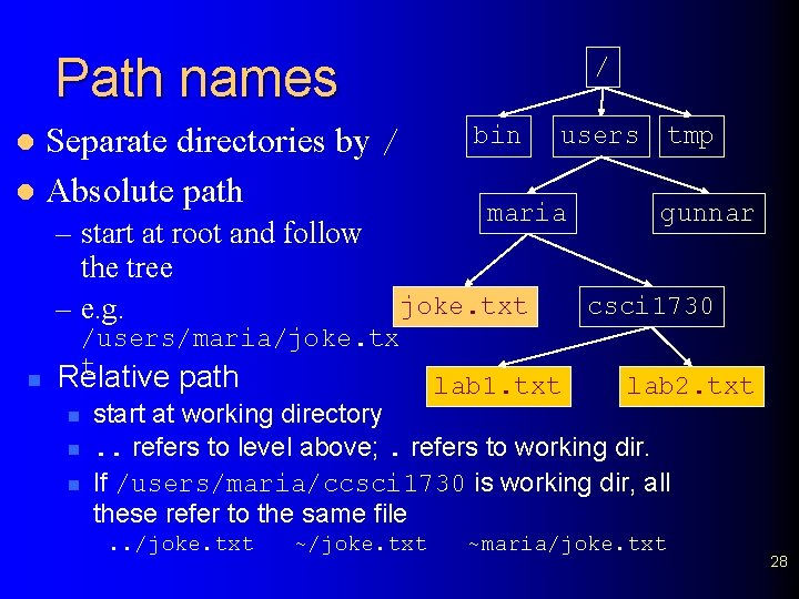 Path names / Separate directories by / l Absolute path l – start at