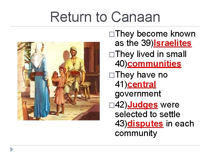 Return to Canaan �They become known as the 39)Israelites �They lived in small 40)communities