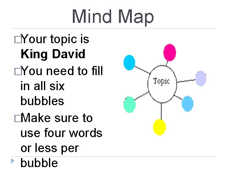 Mind Map �Your topic is King David �You need to fill in all six