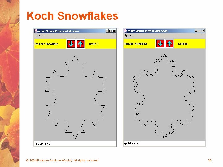 Koch Snowflakes © 2004 Pearson Addison-Wesley. All rights reserved 30