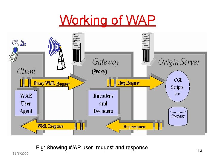 Working of WAP Fig: Showing WAP user request and response 11/6/2020 12
