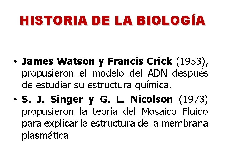 HISTORIA DE LA BIOLOGÍA • James Watson y Francis Crick (1953), propusieron el modelo