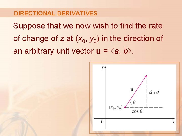DIRECTIONAL DERIVATIVES Suppose that we now wish to find the rate of change of