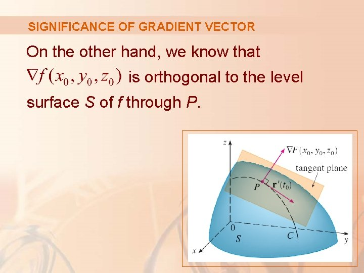 SIGNIFICANCE OF GRADIENT VECTOR On the other hand, we know that is orthogonal to