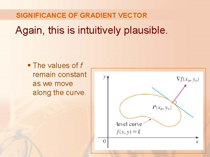 SIGNIFICANCE OF GRADIENT VECTOR Again, this is intuitively plausible. § The values of f