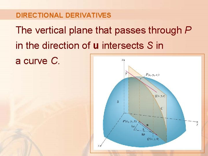 DIRECTIONAL DERIVATIVES The vertical plane that passes through P in the direction of u