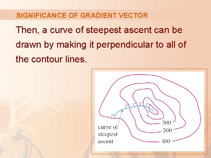 SIGNIFICANCE OF GRADIENT VECTOR Then, a curve of steepest ascent can be drawn by