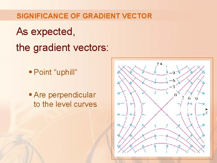 """SIGNIFICANCE OF GRADIENT VECTOR As expected, the gradient vectors: § Point """"uphill"""" § Are"""