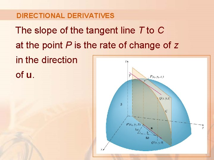 DIRECTIONAL DERIVATIVES The slope of the tangent line T to C at the point