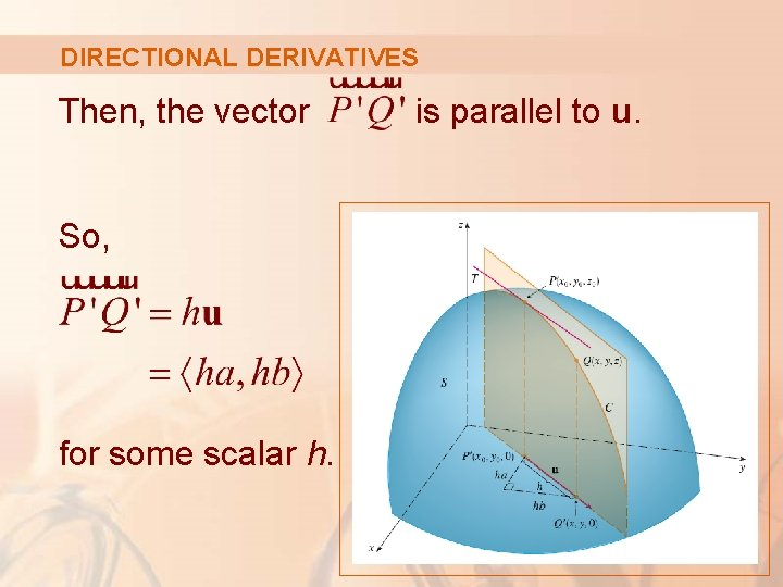 DIRECTIONAL DERIVATIVES Then, the vector So, for some scalar h. is parallel to u.