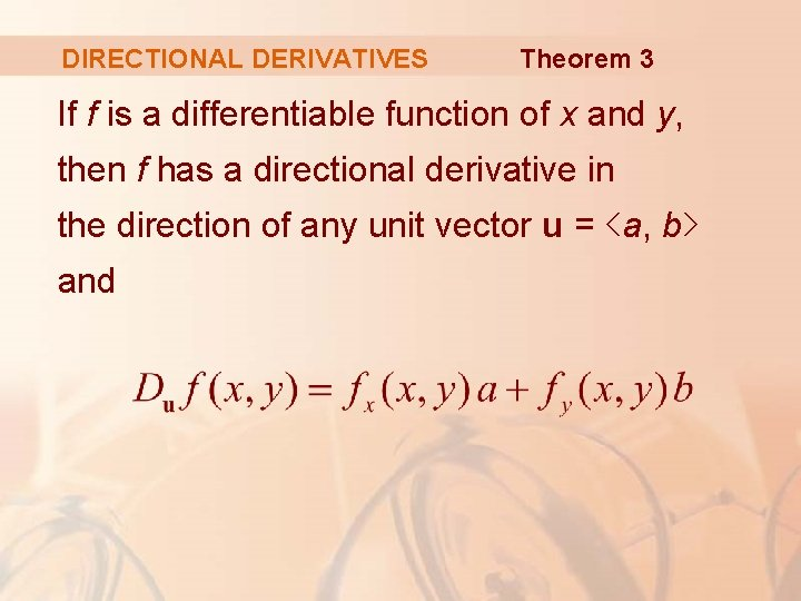 DIRECTIONAL DERIVATIVES Theorem 3 If f is a differentiable function of x and y,
