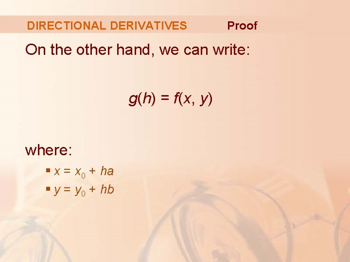 DIRECTIONAL DERIVATIVES Proof On the other hand, we can write: g(h) = f(x, y)