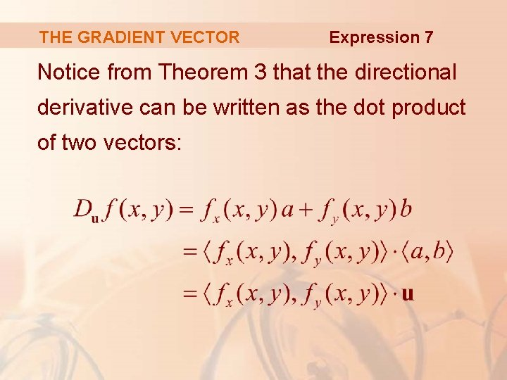 THE GRADIENT VECTOR Expression 7 Notice from Theorem 3 that the directional derivative can