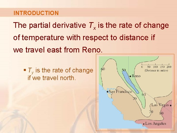 INTRODUCTION The partial derivative Tx is the rate of change of temperature with respect