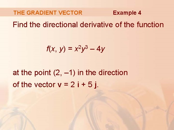 THE GRADIENT VECTOR Example 4 Find the directional derivative of the function f(x, y)