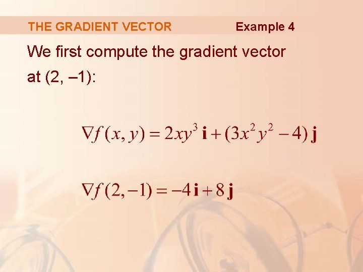 THE GRADIENT VECTOR Example 4 We first compute the gradient vector at (2, –