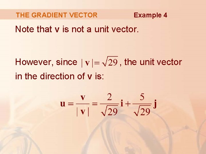 THE GRADIENT VECTOR Example 4 Note that v is not a unit vector. However,