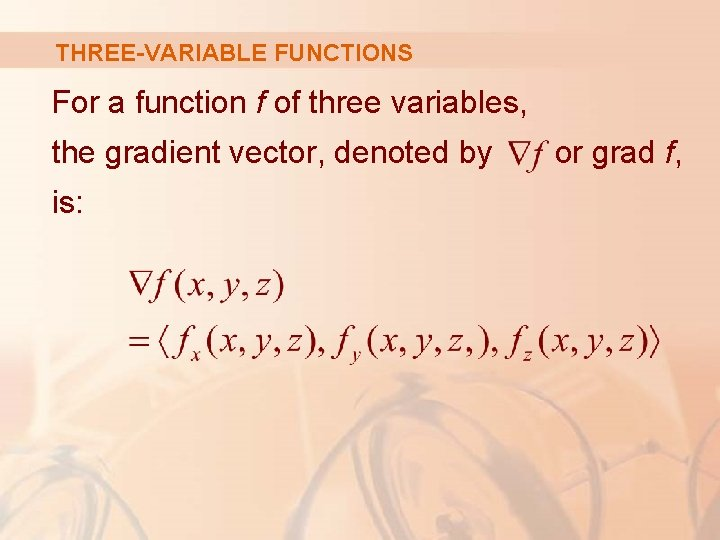 THREE-VARIABLE FUNCTIONS For a function f of three variables, the gradient vector, denoted by