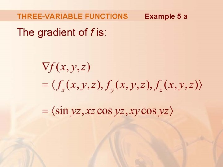 THREE-VARIABLE FUNCTIONS The gradient of f is: Example 5 a
