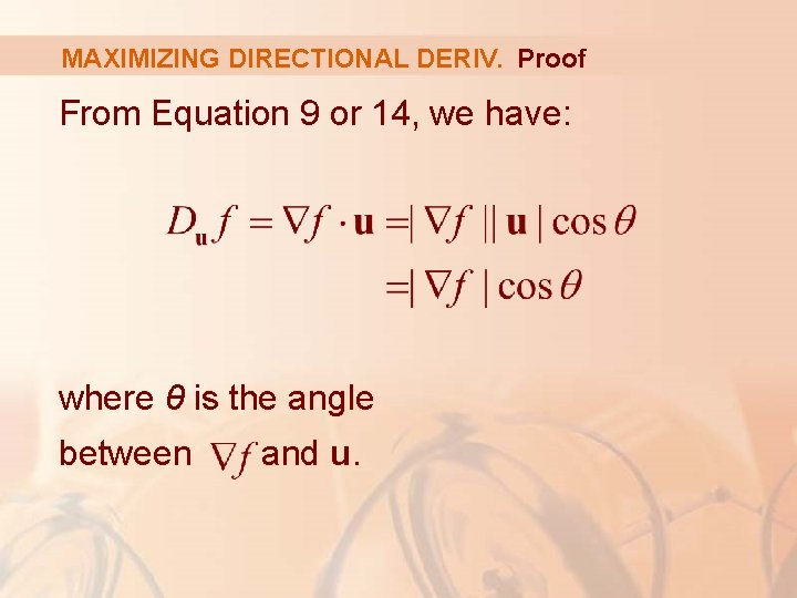 MAXIMIZING DIRECTIONAL DERIV. Proof From Equation 9 or 14, we have: where θ is