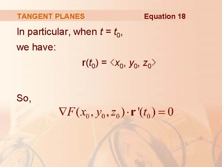 TANGENT PLANES Equation 18 In particular, when t = t 0, we have: r(t