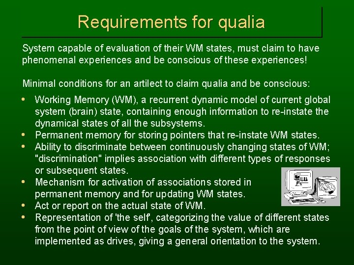 Requirements for qualia System capable of evaluation of their WM states, must claim to