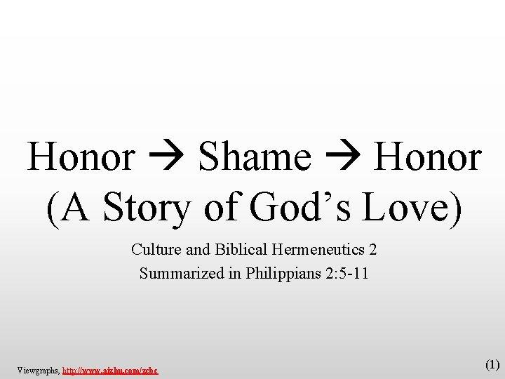 Honor Shame Honor (A Story of God's Love) Culture and Biblical Hermeneutics 2 Summarized