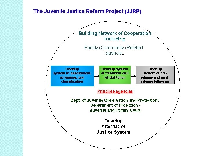 The Juvenile Justice Reform Project (JJRP) Building Network of Cooperation including Family / Community