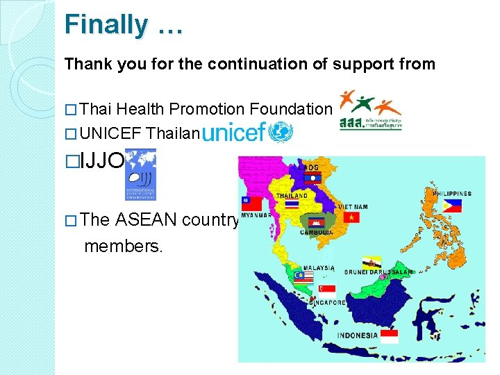 Finally … Thank you for the continuation of support from � Thai Health Promotion