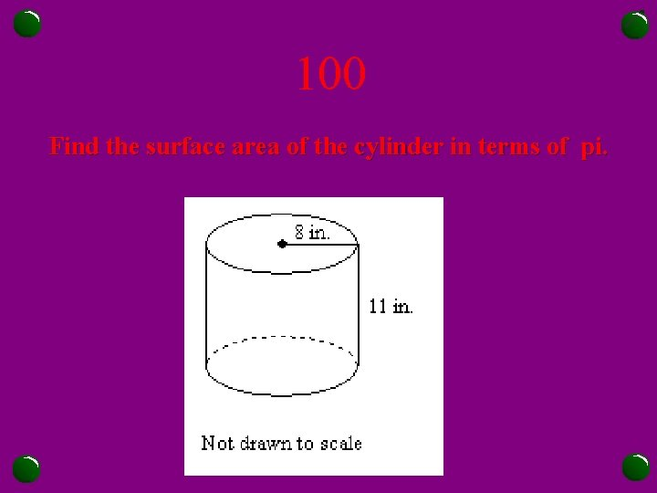 100 Find the surface area of the cylinder in terms of pi.