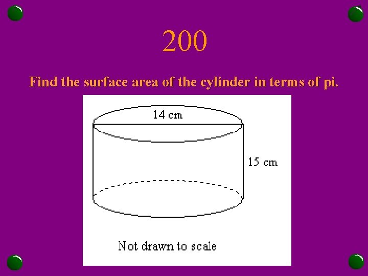 200 Find the surface area of the cylinder in terms of pi.