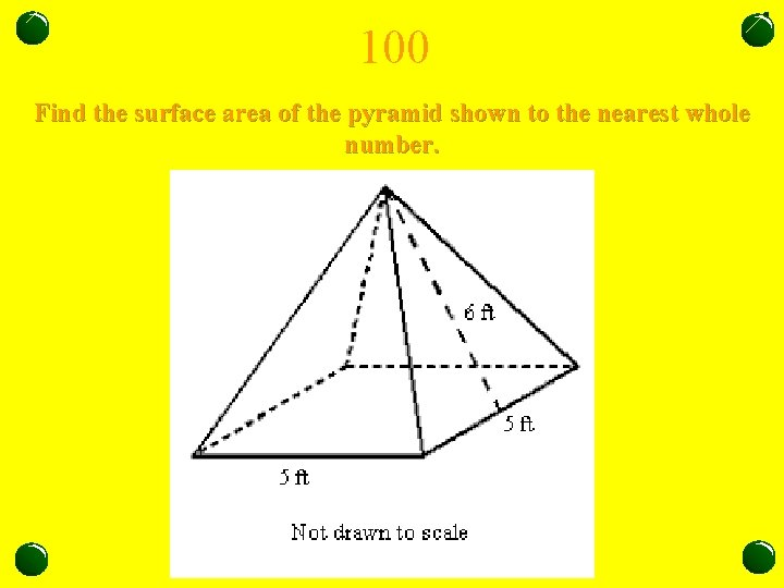 100 Find the surface area of the pyramid shown to the nearest whole number.