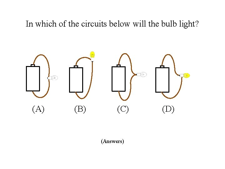 In which of the circuits below will the bulb light? (A) (B) (C) (Answers)
