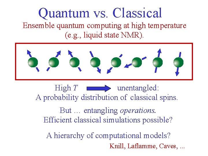 Quantum vs. Classical Ensemble quantum computing at high temperature (e. g. , liquid state