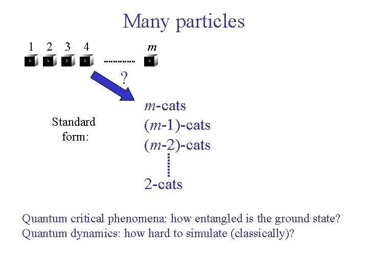 Many particles 1 2 3 4 m ? Standard form: m-cats (m-1)-cats (m-2)-cats 2
