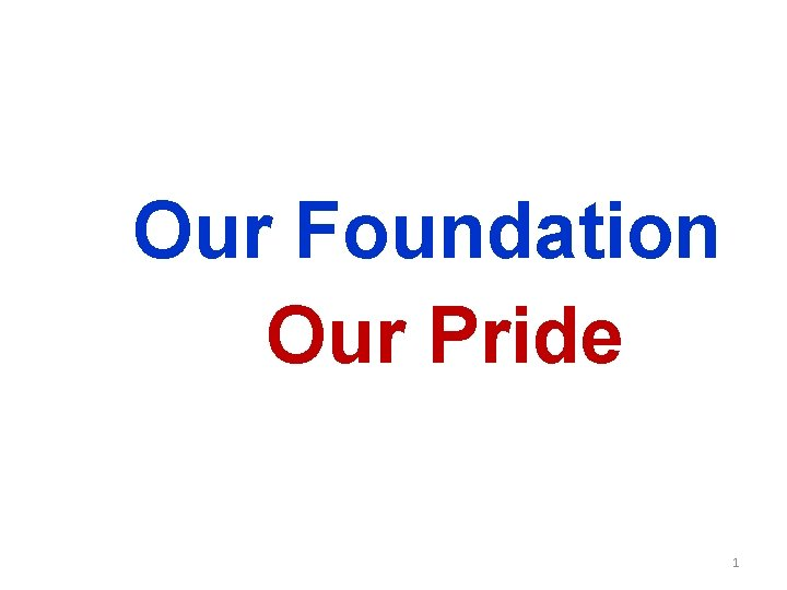Our Foundation Our Pride 1