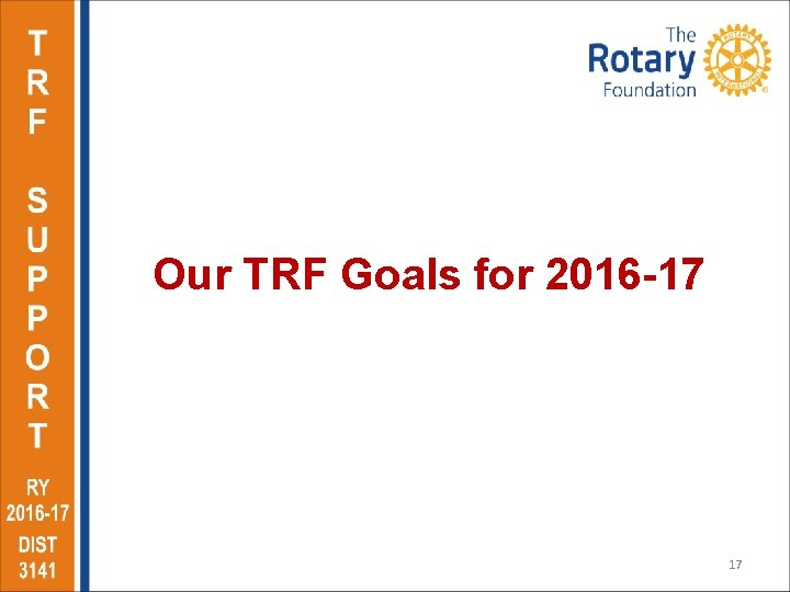 Our TRF Goals for 2016 -17 17