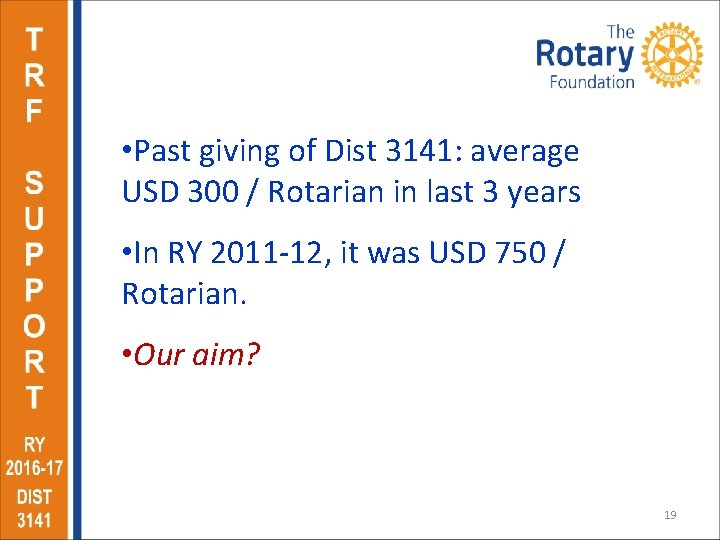 • Past giving of Dist 3141: average USD 300 / Rotarian in last