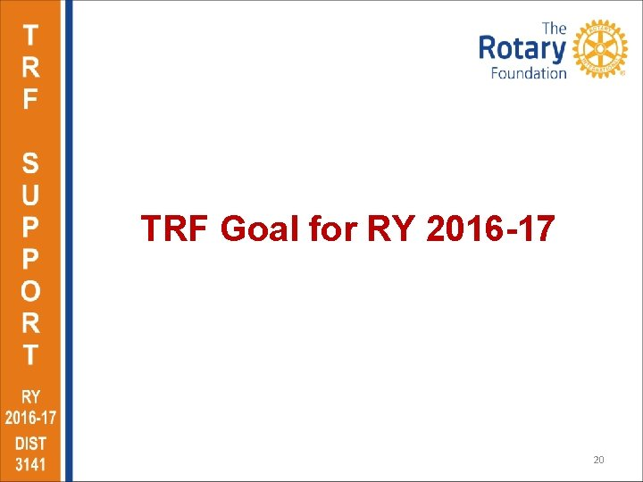 TRF Goal for RY 2016 -17 20