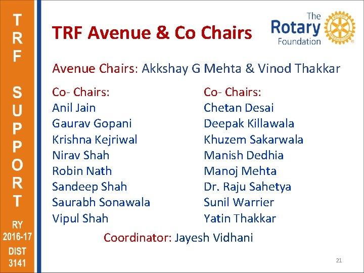 TRF Avenue & Co Chairs Avenue Chairs: Akkshay G Mehta & Vinod Thakkar Co-