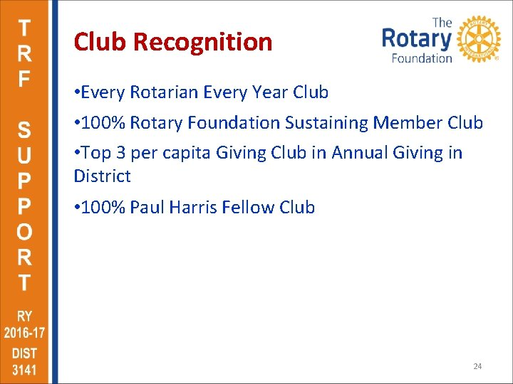 Club Recognition • Every Rotarian Every Year Club • 100% Rotary Foundation Sustaining Member