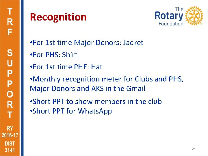 Recognition • For 1 st time Major Donors: Jacket • For PHS: Shirt •