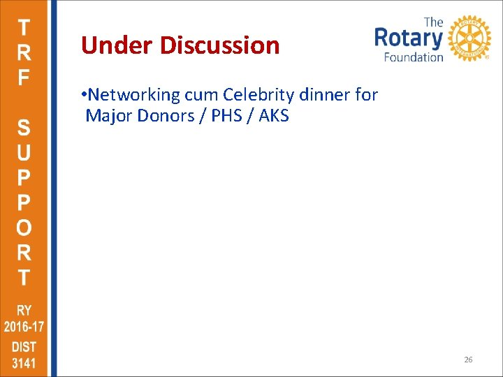 Under Discussion • Networking cum Celebrity dinner for Major Donors / PHS / AKS