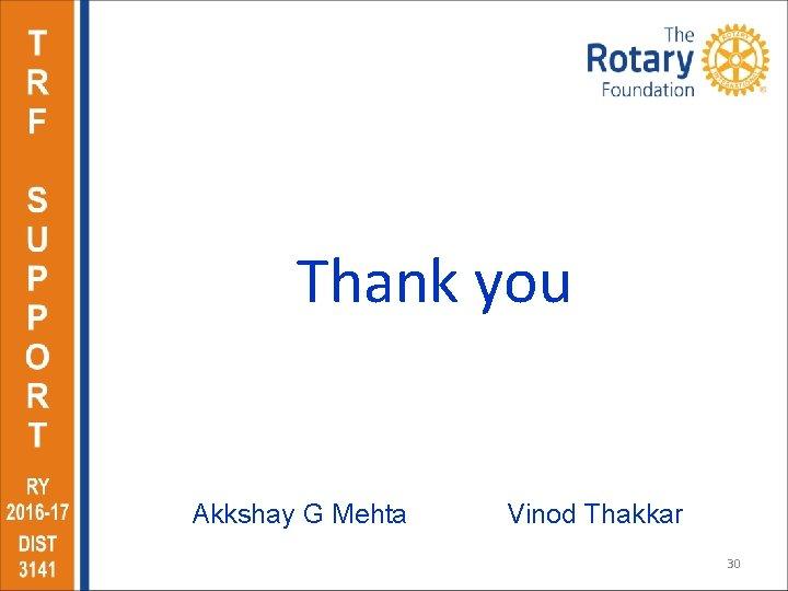 Thank you Akkshay G Mehta Vinod Thakkar 30
