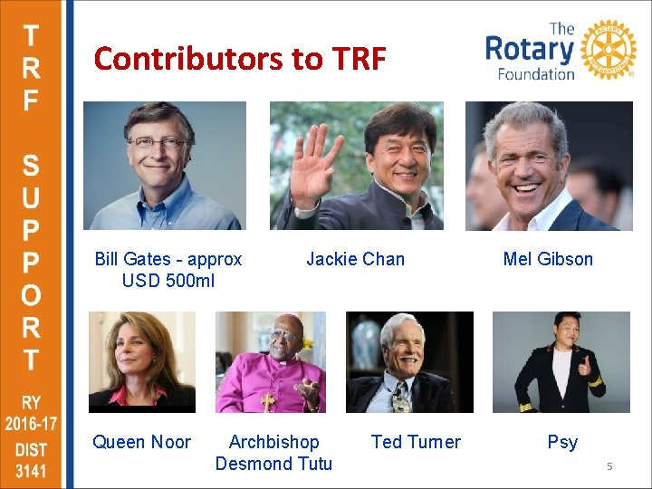 Contributors to TRF Bill Gates - approx USD 500 ml Queen Noor Jackie Chan