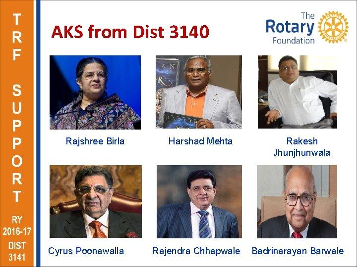 AKS from Dist 3140 Rajshree Birla Cyrus Poonawalla Harshad Mehta Rajendra Chhapwale Rakesh Jhunjhunwala