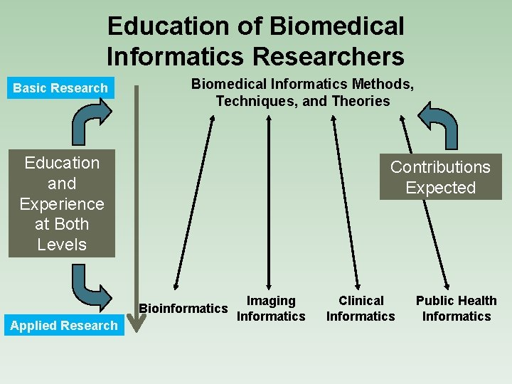 Education of Biomedical Informatics Researchers Basic Research Biomedical Informatics Methods, Techniques, and Theories Education