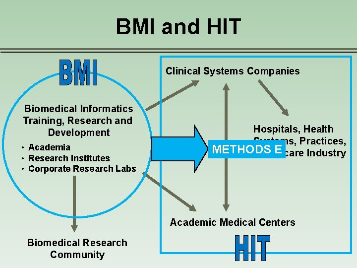 BMI and HIT Clinical Systems Companies Biomedical Informatics Training, Research and Development • Academia