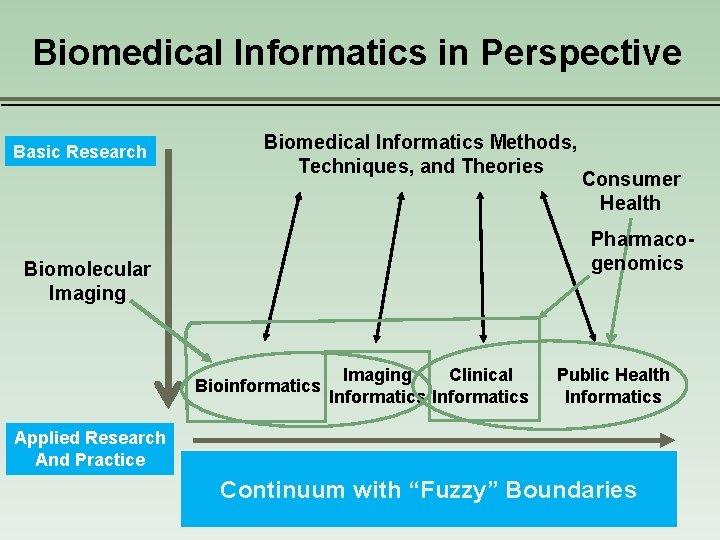 Biomedical Informatics in Perspective Basic Research Biomedical Informatics Methods, Techniques, and Theories Pharmacogenomics Biomolecular
